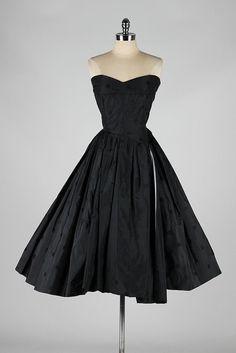 vintage 1950s dress . black silk polka dots . by millstreetvintage