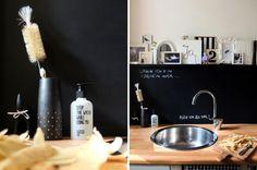 Eingeseift., Tags DIY, Bilder, Schwarz-weiß, Bilderleiste, Tafellack, schwarze Wand, Küche, Tafelwand, Seifenspender