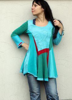 Fantasy patchwork recycled dress tunic hippie boho by jamfashion
