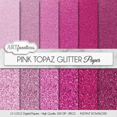 Glitter digital paper PINK TOPAZ GLITTER by Artfanaticus on Etsy  My backgrounds, textures, digital paper and clip art can be used for just about any project. Add some additional artistic style to your photo albums, books, photography project, photographs, scrap booking, weddings, invitations, greeting cards, wrapping paper, labels, stickers, tags, stationary, signs, business cards, websites, blogs, parties, events, jewelry, home décor, fabric clothing and much more!