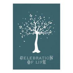 Celebration of Life - Custom - Elegant Tree Motif Personalized Announcement