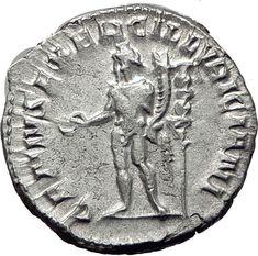TRAJAN DECIUS 250AD Rome Silver Authentic Ancient Roman Coin Genius i65339