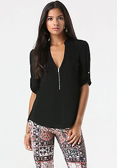 3/4 Sleeve Back Zip Tunic