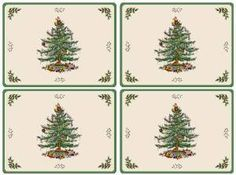 Spode Table Linens, Set of 4 Christmas Tree Placemats Cork Back