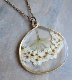Pacific Ninebark Pressed Flower Necklacem