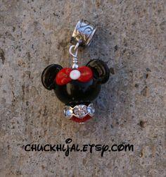 Shorter European Mrs Minnie Mouse Style Disney Inspired DeSIGNeR Lampwork Bracelet Charm Red Black Disneyland Magic by TheGlassPixie on Etsy