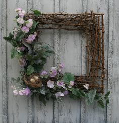 Twig Wreath - Square Twig Wreath with Birdnest and Eggs - Country and Rustic Wreath Crafts, Wreath Ideas, Grapevine Wreath, Flower Decorations, Christmas Decorations, Picture Frame Wreath, Square Wreath, Rustic Candles, Nature Crafts