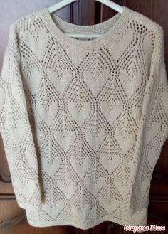 . Ажурный летний пуловер с сердечками - Вязание - Страна Мам
