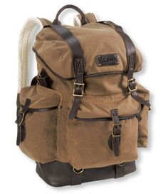 Waxed Cotton Continental Rucksack: Backpacks | Free Shipping at L.L.Bean. Would make an awesome school or work bag