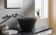 Lavabo d-color Nordic Negro, de porcelana y sobre encimera, sin rebosadero y sin opción de ir en pared.