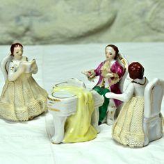 4 Miniature Figurines, Dresden Porcelain Lace - Pianist, Piano, 2 Lady Singers - Vintage China Porcelain Ornaments, Home Decor