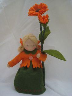 Deko-Objekte - Blumenkind-Ringelblume für den Waldorf-Jah... - ein Designerstück von Blumenkinder-Unikate bei DaWanda