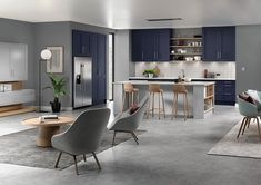 Melrose shaker style replacement kitchen doors finished in Serica marine blue and light grey Shaker Kitchen Doors, Replacement Kitchen Doors, Marine Blue, Wakefield, Shaker Style, Open Plan, Table, Furniture, Grey