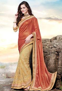 Beige #Jacquard And #Net Half And #Half #Saree #nikvik  #usa #designer #australia #canada #freeshipping #saris