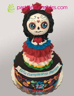 Pastel de Catrina Pasteles Halloween, Ideas Para Fiestas, Birthday Cake, Dahlias, South America, Desserts, Tacos, Party Ideas, Food