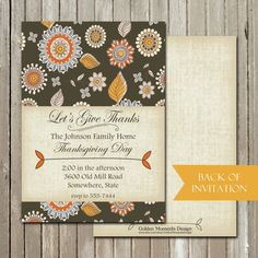 Give Thanks Thanksgiving Dinner Invitation by GoldenMomentsDesign, $10.00