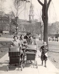 April 28 1942 / fromthearchive / Globe file photo / Spring had sprung as mothers took their babies for a walk on the the Boston Common and the pigeons followed along for some treats.