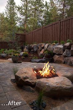 Boulder Fire Pit - Jenna Friesen Designs with Newport Ave Landscaping