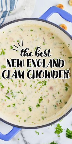 This New England Clam Chowder is the absolute best! This easy clam chowder recipe makes perfect comfort food for a cold night. Made with bacon, plenty of potatoes, and with just the right amount of cream, you will be a chowder master with my instructions for how to make clam chowder.
