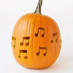 DIY Music Note Drilled Pumpkins ⋆ Handmade Charlotte Make these musical pumpkins for your Halloween Monster Mash dance party! Scary Pumpkin Carving, Amazing Pumpkin Carving, Pumpkin Carvings, Halloween Crafts For Kids, Halloween Pumpkins, Fall Halloween, Halloween Activities, Halloween Projects, Halloween Party