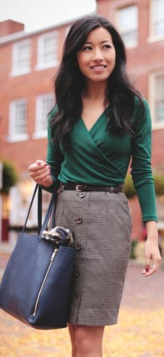 A Little green In autumn: ivy wrap top And herringbone skirt by Extra Petite