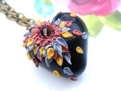 Heart Flower Necklace Polymer Clay Jewellery Boho by Sweetystuff, £12.50