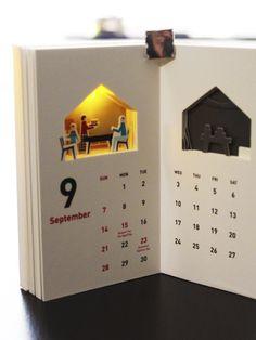 Creative Calendar, Diy Calendar, Desk Calendars, Calendar Design, Diy Paper, Paper Art, Paper Crafts, Design Poster, Kirigami