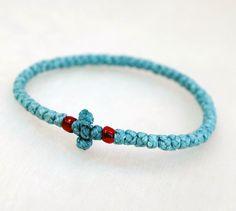 Tiny Blue Cotton Prayer Rope Bracelet with beads by BYZANTINO