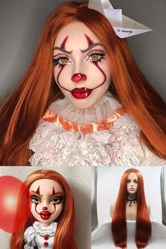 clown makeup for 2019 Halloween, want to have a try? Looks Halloween, Amazing Halloween Makeup, Fete Halloween, Halloween Kostüm, Pennywise Halloween Costume, Couple Halloween Costumes, Halloween Outfits, Female Pennywise Costume, Bratz Doll Makeup