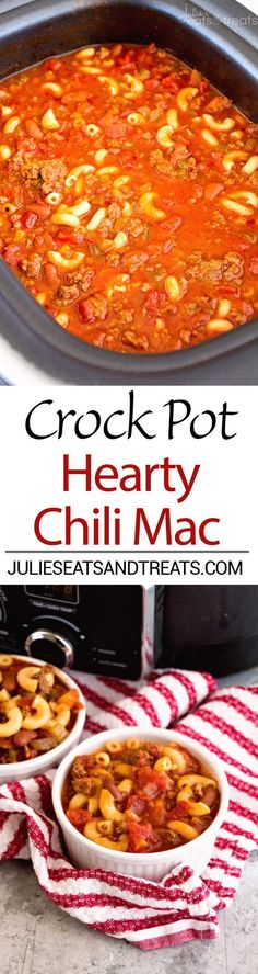 Crock Pot Hearty Chili Mac Recipe ~ Delicious Chili Slow Cooked All Day Long and Then Finished Off with Pasta! Hearty, Comforting Meal for Dinner! #pastafoodrecipes