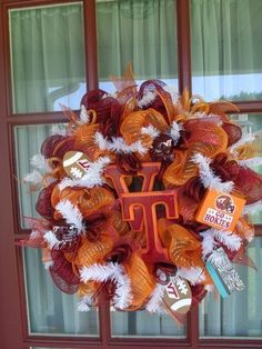 Virginia Tech Hokie Burgundy and Orange Deco Mesh by Crazyboutdeco, $99.00