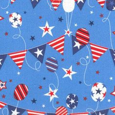 Holiday Inspirations Patriotic Fabric- Bunting Balloons Glitter