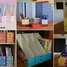 46 Ideas For Desk Organization Diy Cardboard Cereal Boxes Diy Storage Boxes, Desk Organization Diy, Diy Desk, Organizing, Desk Storage, Diy Home Crafts, Diy Home Decor, Diy Karton, Diy Magazine Holder