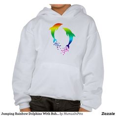 Jumping Rainbow Dolphins With Bubbles Hoodie
