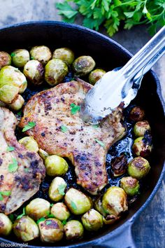 (One Pan) Pork Chops And Brussels Sprouts food recipe Share and Enjoy! #anastasiadate