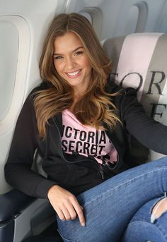 Josephine Skriver on the Angels Flight to Paris for the 2016 Victoria's Secret Fashion Show