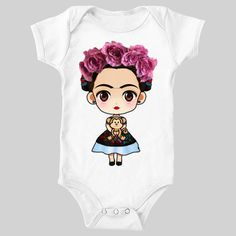 Frida Kahlo Cartoon Inspired Printed Onesie by Mylittleshop2you on Etsy