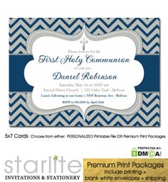 First Communion Invitation Boy Navy Blue Grey Chevron Silver available as either Printable Invitation Digital or Printed Invitations https://starliteprintables.indiemade.com/product/first-communion-invitation-boy-navy-blue-grey-chevron-silver