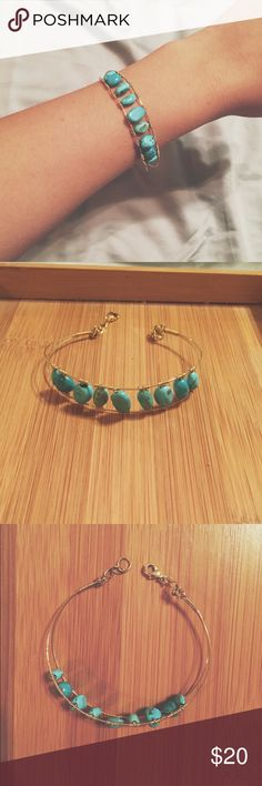 """Turquoise and gold bracelet Super cute turquoise and gold wire bracelet with adjustable clasp. Unique and bohemian! Diameter roughly 2.5"""". Originally from a boutique in Orange County, CA Jewelry Bracelets"""