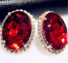 Crystal Red Gem Austrian Oval Shape Large Stud Earrings