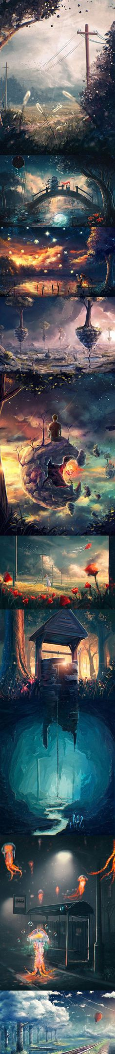 New Digital Art Landscape Dreams Posts Ideas Fantasy Places, Fantasy World, Fantasy Art, Fantasy Landscape, Landscape Art, Anime Body, Anime Pokemon, Anime Scenery, Noragami