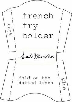 template: french fry holder I was thinking about making a small one of these to glue to scapbook page to use as a pocket.