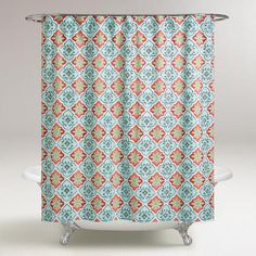 One of my favorite discoveries at WorldMarket.com: Aqua and Coral Windward Tile Shower Curtain