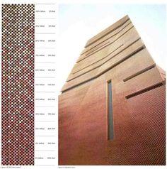 Brick color diagram - TATE Modern extension (under construction) - Herzog Brick Masonry, Brick Facade, Brick Wall, Brick Design, Facade Design, Brick Architecture, Architecture Details, Tate Modern Extension, Jacques Herzog