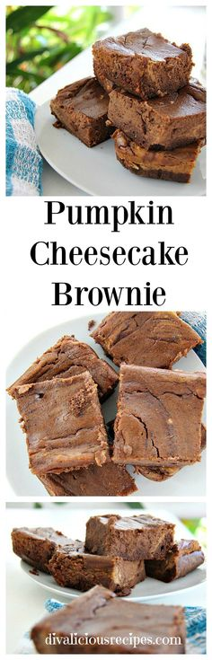 A pumpkin cheesecake brownie that has the warmth of pumpkin spices in a creamy brownie. A delicious low carb and gluten free treat. Low Carb Desserts, Fun Desserts, Low Carb Recipes, Delicious Desserts, Healthy Desserts, Healthy Eats, Holiday Desserts, Paleo Recipes, Yummy Recipes
