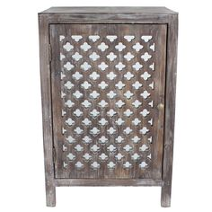 Decor Therapy Distressed Grey Quatrefoil End Table With Mirror Accent (Gray)