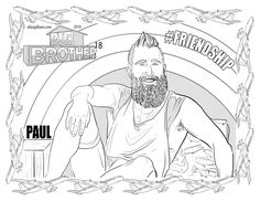 Big Brother 18 19 Paul Abrahamian@deadskulltweets coloring page.  Thank you E.R.Gilliam@omgwtflols