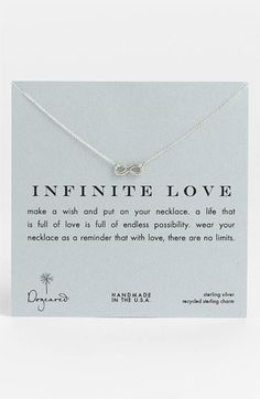 Dogeared 'Infinite Love' Reminder Pendant Necklace | Nordstrom - love that it is american made!