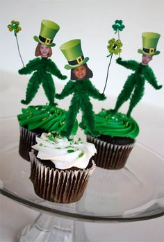 Chenille Leprechaun cupcake toppers www.skiptomylou.org #StPatricksday #cupcake toppers #Classroomtreats