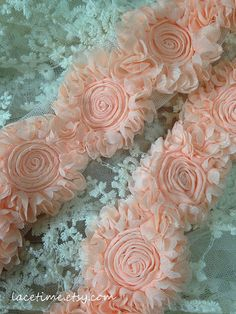 pink lace trim 3D Chic rosette Lace trim for wedding by lacetime